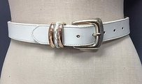Brighton Brighton White Leather Silver Solid Brass Buckle Braided Buckle Accent Belt