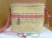 Brighton Natural Straw Pink Leather Tote Cross Body Bag