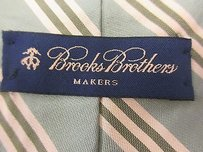 Brooks Brothers Brooks Brothers Green Pure Silk Neck Tie W Yellow Diagnolly Striped Design B1050