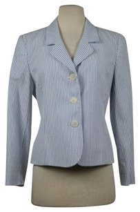 Brooks Brothers Brooks Brothers Petites Womens White Striped Blazer 6p Cotton Career Jacket