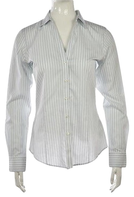 794a4b7cb7db3 Brooks Brothers 346 Womens White Button Down Striped Cotton Top Shirt 60%OFF