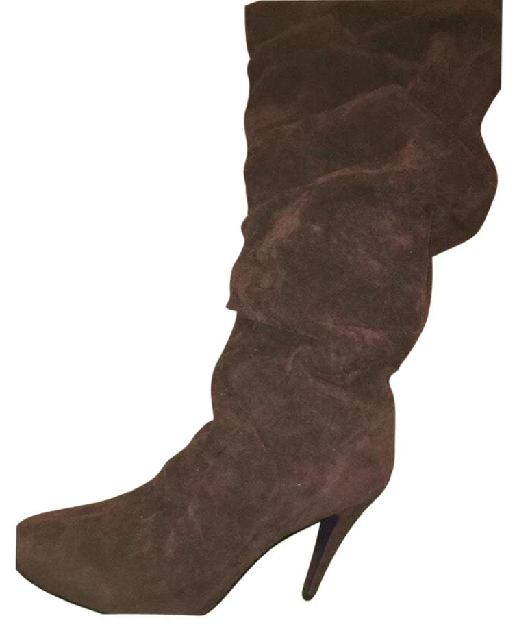 Brown suede mid calf boots