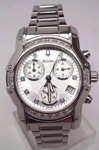 Bulova Bulova 23 Diamonds Chronograph Silver Tone Womens Dress Watch 96r138 Sd