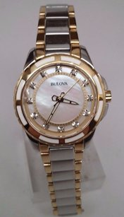 Bulova Bulova 98p134 Womens Diamond Two-tone Stainless Steel Mother Of Pearl Dial