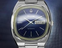 Bulova Bulova Blue Day Date Automatic Double Quickset 1980s Swiss Stainless Steel Dn114