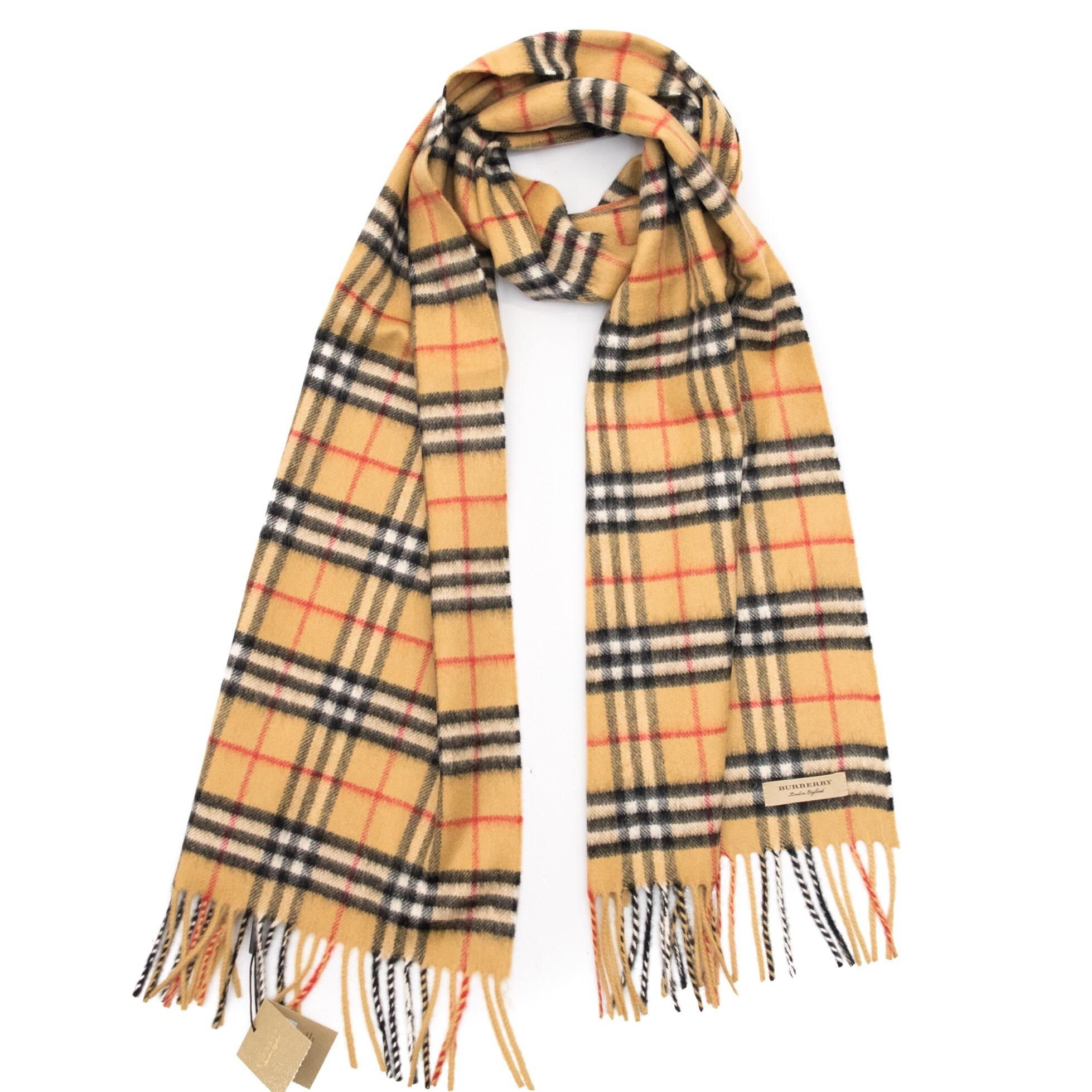 antique yellow vintage check cashmere scarf Burberry uxE2Fd