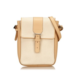 Burberry Beige Brown Canvas Shoulder Bag