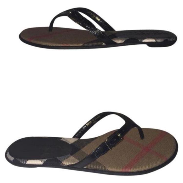 Burberry Black Brown Multi Thong Sandals Size US 7 Regular (M, B)