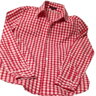 Burberry Blue Label Monogram Cotton Casual Top Red / white. Signature tan plaid