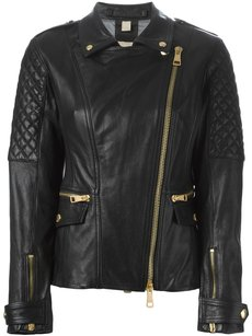 Burberry Brit London Chic Trendy Leather Leather Moto Studded Motorcycle Jacket