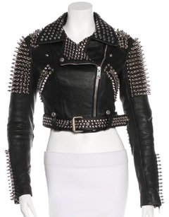 Burberry Brit Studded Leather Cropped Leather Jacket