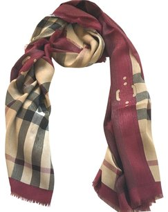Burberry BURBERRY HAYMARKET METALLIC RED CHECK SCARF, Modal Viscose cashmere blended