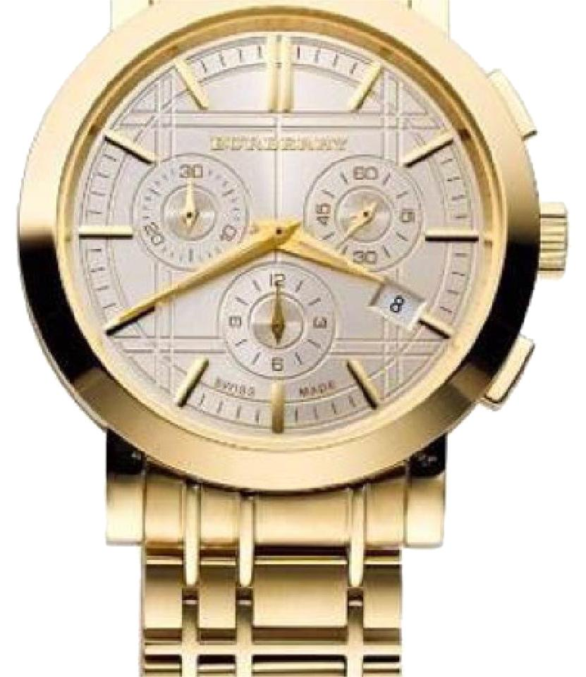 authentic burberry outlet online 5zfn  Burberry Burberry Men's BU1757 Heritage Gold-Plated Stainless Steel Gold  Chronograph Dial Watch