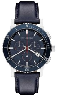 Burberry BURBERRY Watch, Men's Swiss Chronograph Blue Leather Strap BU9383