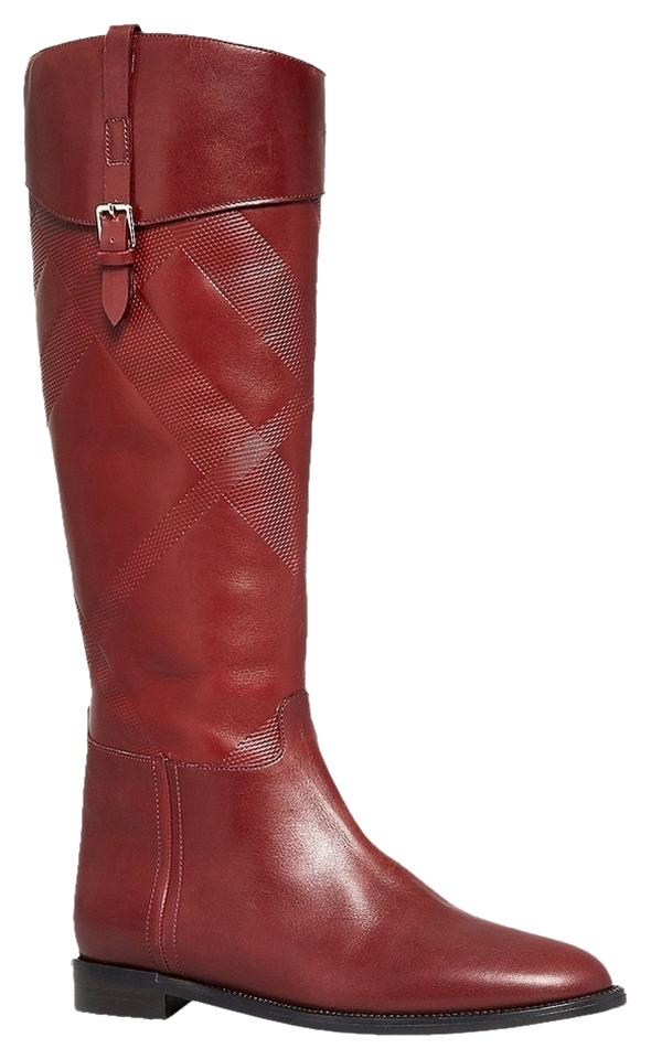 Burberry Burnt Red Heritage Copse Equestrian Riding Bordeaux Leather 38/ Boots/Booties Size US 8 Regular (M, B)