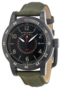 Burberry GMT The Utilitarian Black Dial Olive Green Nylon Men's Watch BU7855