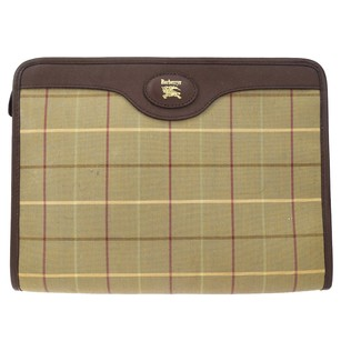 Burberry Hand Leather Brown Clutch