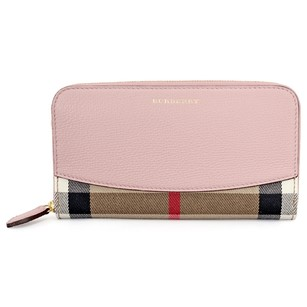 Burberry House Check Leather Zip Around Wallet - Pale Orchid 3996878