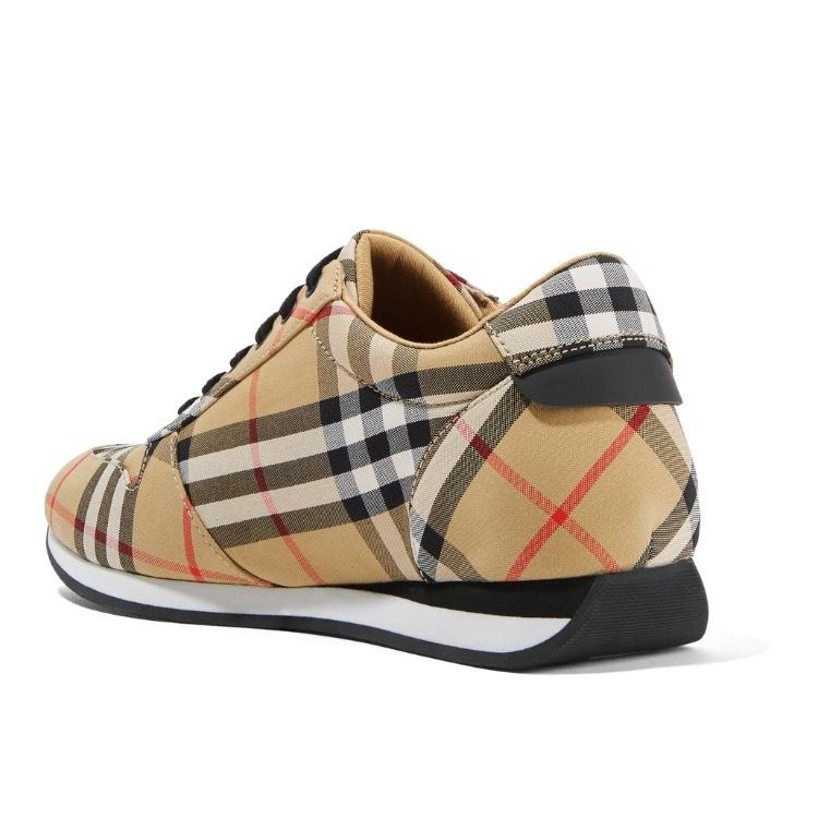 Free Shipping Cheap Quality Burberry Leather-trimmed Checked Canvas Sneakers Affordable Sale Online 100% Original Cheap Price Discount Shop Offer g8IXa