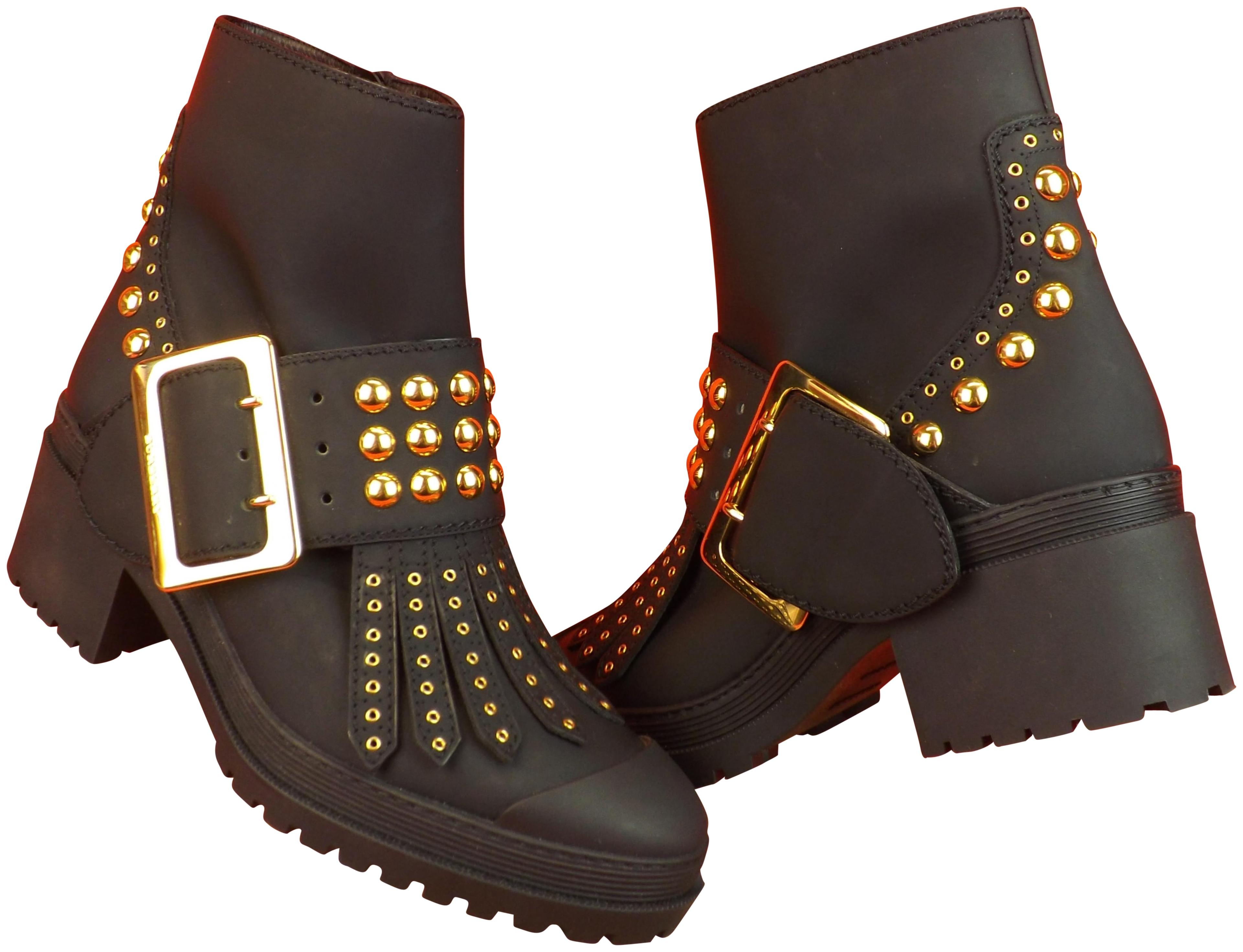 b341097b15c Burberry London Black Whitchester Whitchester Whitchester Oiled Leather  Fringe Gold Studded Belted Boots/Booties Size