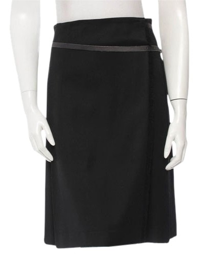 burberry pleated wrap belted side buckle mini skirt