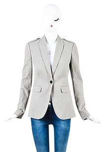 Burberry London Burberry London Blue Pink Cotton Textured Striped Blazer Jacket