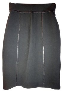 Burberry London Leather Timeless Elegant Pencil Skirt Black