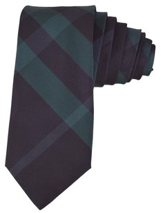 Burberry New Burberry $165 100% Silk Rohan Carbon Blue and Green Nova Check Neck Tie