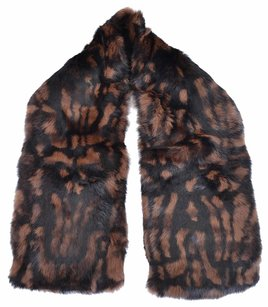 Burberry NEW BURBERRY $995 DARK CAMEL & BLACK PRINTED RABBIT FUR SCARF STOLE