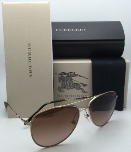 burberry sunglasses on sale c9k7  Burberry New BURBERRY Sunglasses B 3072 1145/13 57-14 Gold Aviator  Frame w