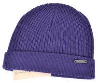 Burberry NEW BURBERRY UNISEX WOOL CASHMERE PURPLE LOGO FISHERMENS BEANIE HAT