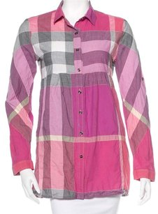 Burberry Nova Check Plaid Monogram Longsleeve Cotton Button Down Shirt Pink, White, Beige