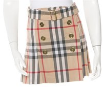 Burberry Nova Check Plaid Monogram Silver Hardware Skirt Beige, Black, Red