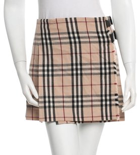 Burberry Nova Check Plaid Monogram Skirt Beige, Black