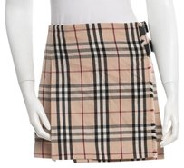 Burberry Nova Check Plaid Monogram Pleated Leather Skirt Beige, Black