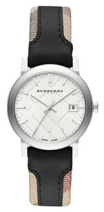 Burberry NWT Burberry Swiss The City Haymarket Check and Black Leather StrAP BU9150