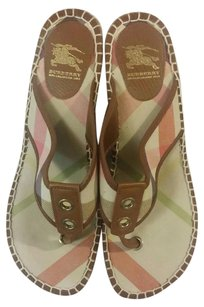 Burberry Pink &Brown stripes Wedges