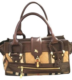 Burberry Quilted Leather Satchel in Brown Nova check