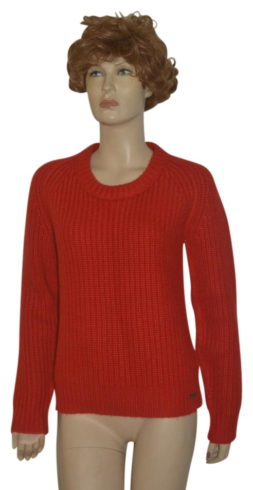 Burberry Red Womens Chunky Knit Cashmere Sweater/Pullover ...