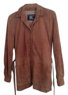 Burberry Suede Belted Made In England Tan Leather Jacket