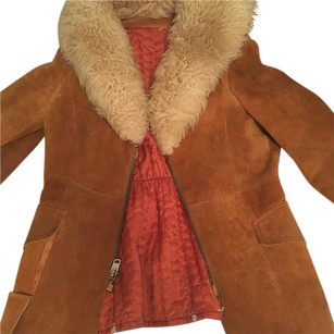 Burning Man Vintage Faux Fur Suede Leather Coat Fur Coat