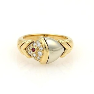 BVLGARI Buglari Bvlgari Naturalia Diamonds Ruby 18k Two Tone Gold Fish Ring