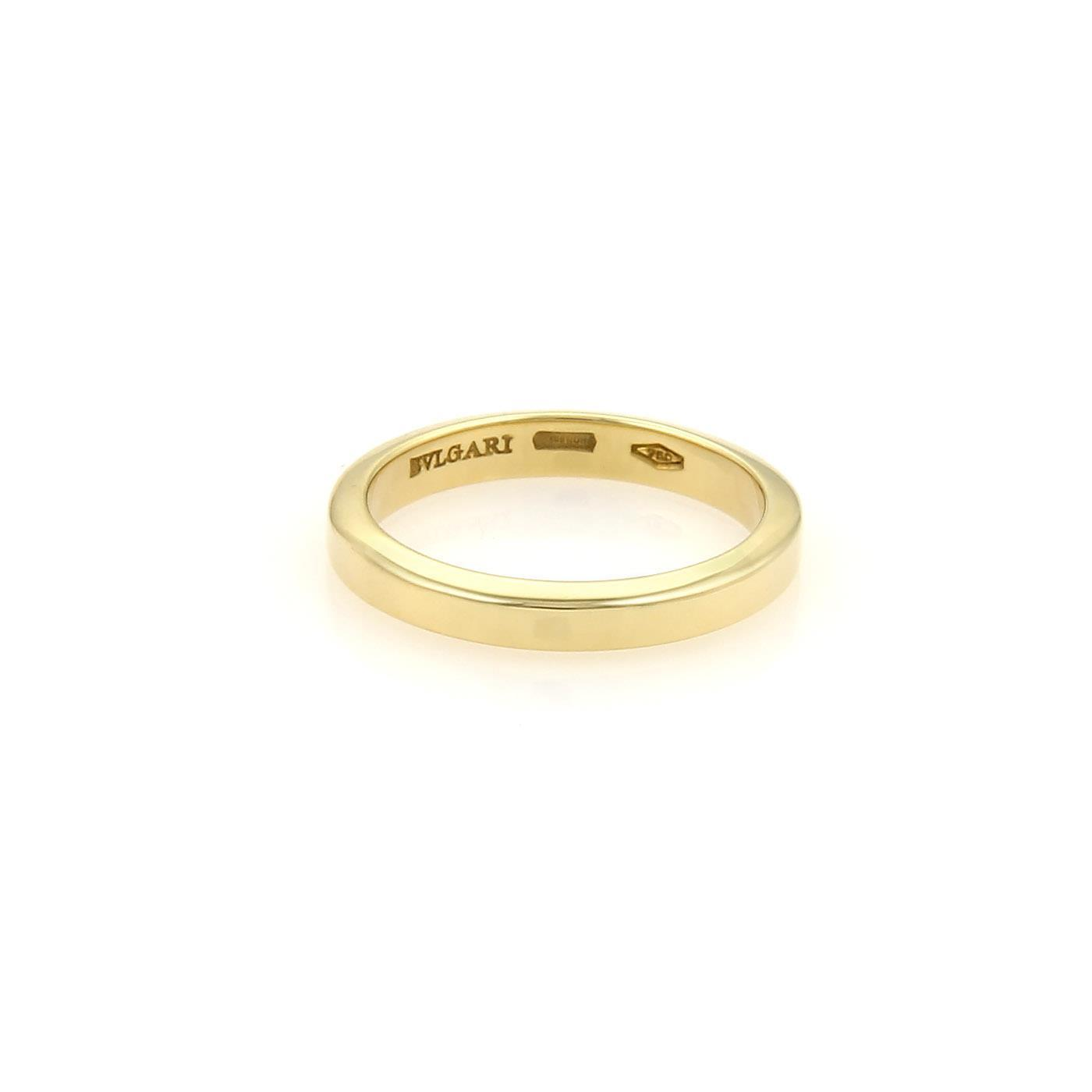 bvlgari bulgari 18k yellow gold flat 3mm plain wedding band ring size 575