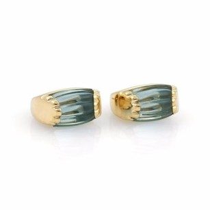 BVLGARI Bulgari Bvlgari 20ct Blue Topaz 18k Yellow Gold Fancy Post Clip Earrings