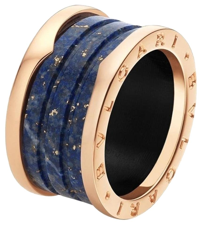 bvlgari bvlgari bzero1 18k rose gold 4 band blue marble ring an856222 size 57