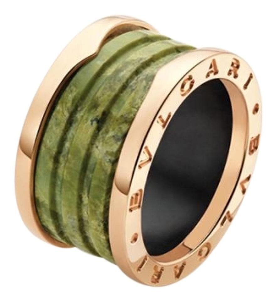 bvlgari bvlgari bzero1 18k rose gold 4 band green marble ring an856221 us 55