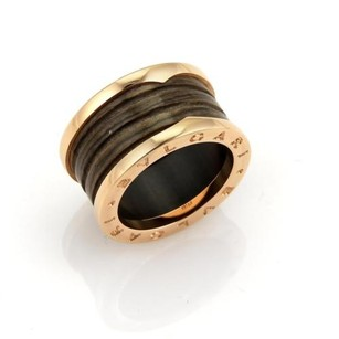 BVLGARI Bvlgari B.zero1 18k Rose Gold Brown Marble Band Ring - Eu 53-us