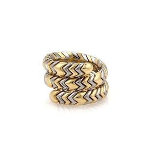 BVLGARI Bulgari Bulgari Spiga 18k Yellow Gold Ssteel Wide Wrap Band Ring 7-8
