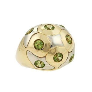 BVLGARI Bvlgari Peridot 18k Two Tone Gold Dome Design Ring -