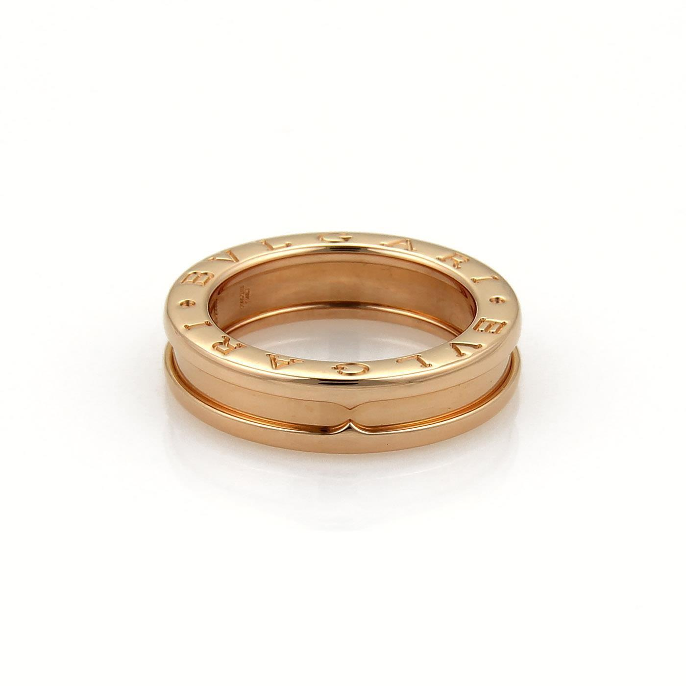 BVLGARI Rose Gold B Zero1 18k 5mm Band Size Eu 48us 45 Ring Tradesy